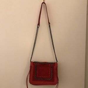 Handbags - Red suede/faux leather mixed crossbody